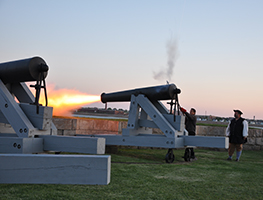 Members of the Fairhaven Village Militia fire off cannon #3 at Fort Phoenix on Saturday, 5/23/15, at dusk. The Militia has several events during the year when they fire off the five 24-pound Seacoast Defense cannons. Neighb News file photo by Beth David.