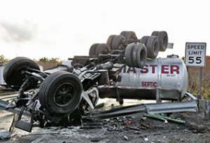 Sewage truck rolls over on I-195 in Fairhaven