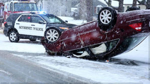 Rollover in Acushnet due to storm