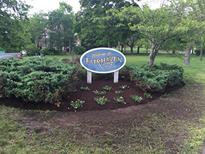 Fairhaven welcome sign landscaping spruced up