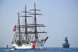 "USCG Tall Ship ""Eagle"" opens to public in New Bedford"