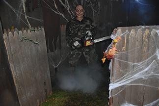 Halloween Horror Fairhaven 2020 Halloween Horror, chain saw maniac. Photo by Beth David